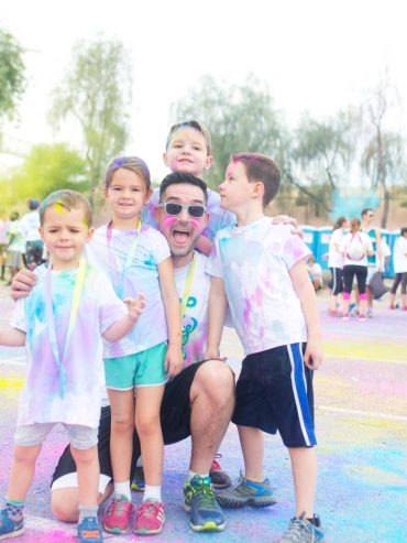 Dad and kids after running 5k